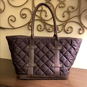 J.Crew Brown Quilted Nylon & Leather Snap Tote